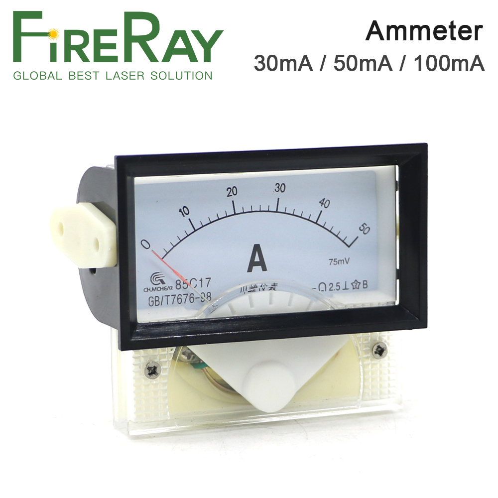 FireRay Ammeter 30mA 50mA 100mA 85C17 Analog Amp Panel Meter Current For CO2 Laser Engraving And Cutting Machine