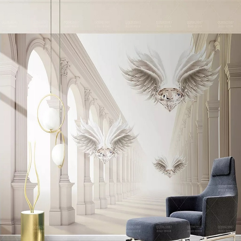 Custom Large Mural 3D Wallpaper Modern Creative 3D Expansion Space Jewelry Wings Living Room TV Back Wall Decor Deep 5D Embossed