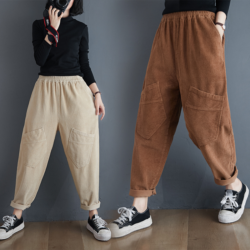 Plus Size Corduroy Harem Pants Women 2020 Autumn Winter Elastic High Waist Loose Casual Capri Pants All-match Slim Baggy Pants