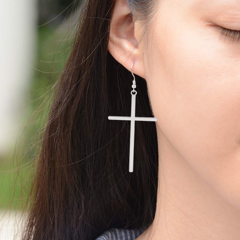 Ethnic Big Cross Long Earrings for Women Gold Color Drop Earrings Jewelry Dropshipping bijoux ethnique femmes