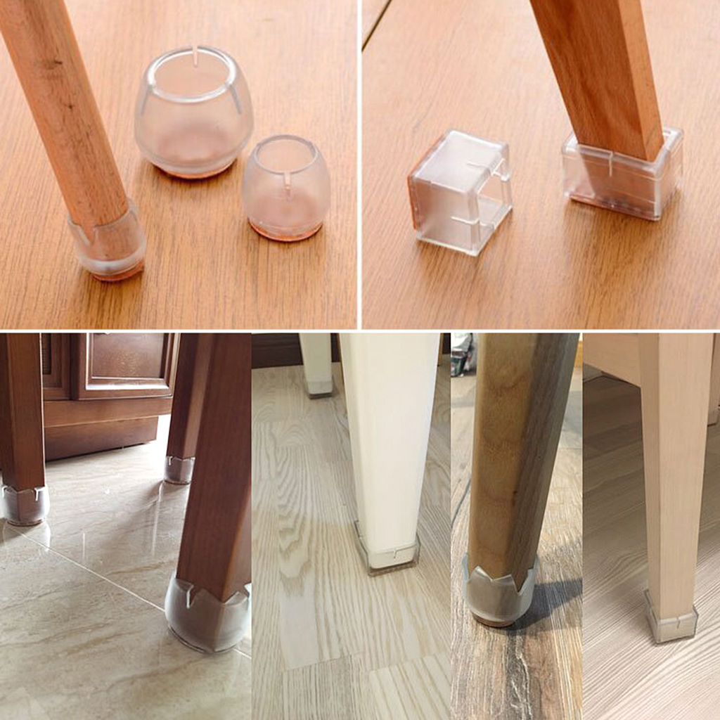 20pcs Rectangular Chair Leg Floor Protector Rubber Chair Leg Floor Protectors