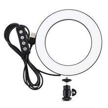 ขายปลีกPuluz 4.6นิ้วUsb 3โหมดหรี่แสงได้การถ่ายภาพสตูดิโอถ่ายภาพแหวนLed Video Light & เย็นรองเท้าขาตั้งกล้องball