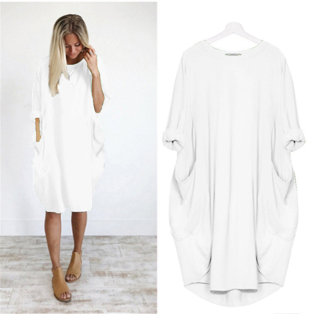 Casual Loose Dress With Pocket Women's Spring Summer Fashion Solid Color O-Neck Long Sleeve White Dresses Big Size S-5XL 2