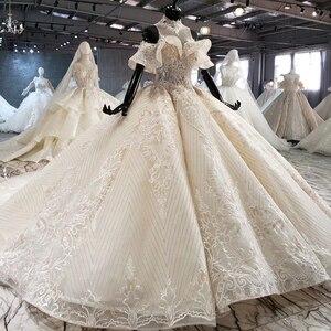 Image 3 - HTL1083 الكرة ثوب الزفاف الفاخرة الكريستال عالية الرقبة قبالة الكتف العروس روب للنوم حجم كبير جديد vestidos دي نوفيا 2020