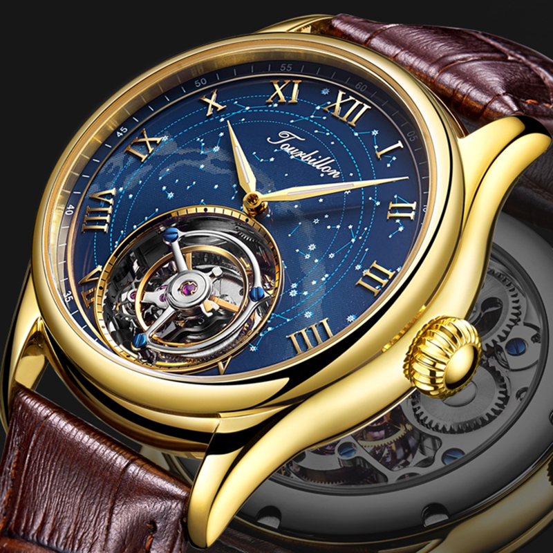 100% véritable Tourbillon hommes montre de haute qualité réel Tourbillon horloge hommes saphir main vent mécanique montre Relogio Masculino