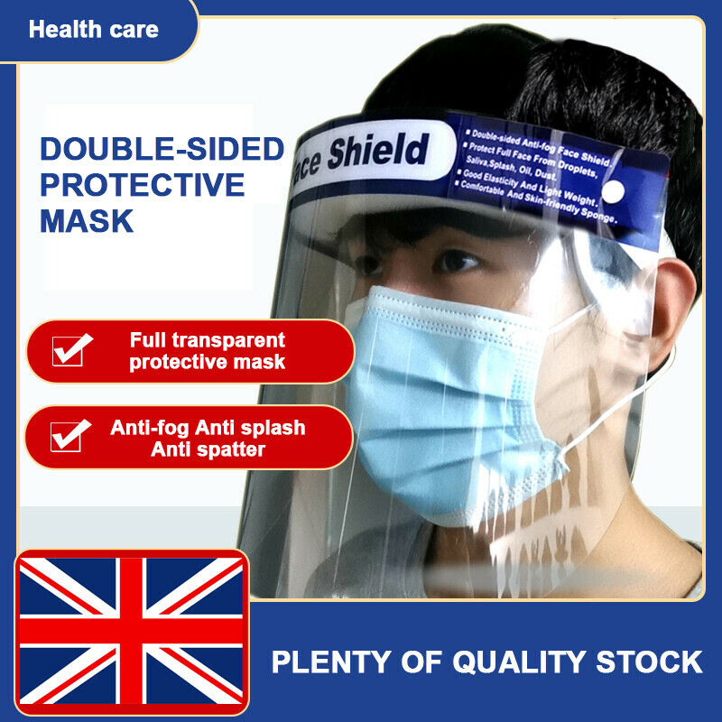 Full Face Shield Mask Medical Anti-virus Protective Safety Mask Adult Kids Clear Flip Up Visor Protection Dust-proof Work Guard