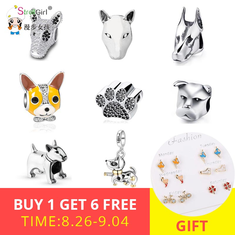 Strollgirl Bracelets 925-Animal-Beads Bull-Terrier Sterling-Silver Dog-Charms-Fit Dog-Jewelry-Making