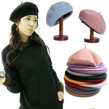 Vintage French Style Plain Beret Cap Beanie Hat Sweet Women Girls Autumn Winter