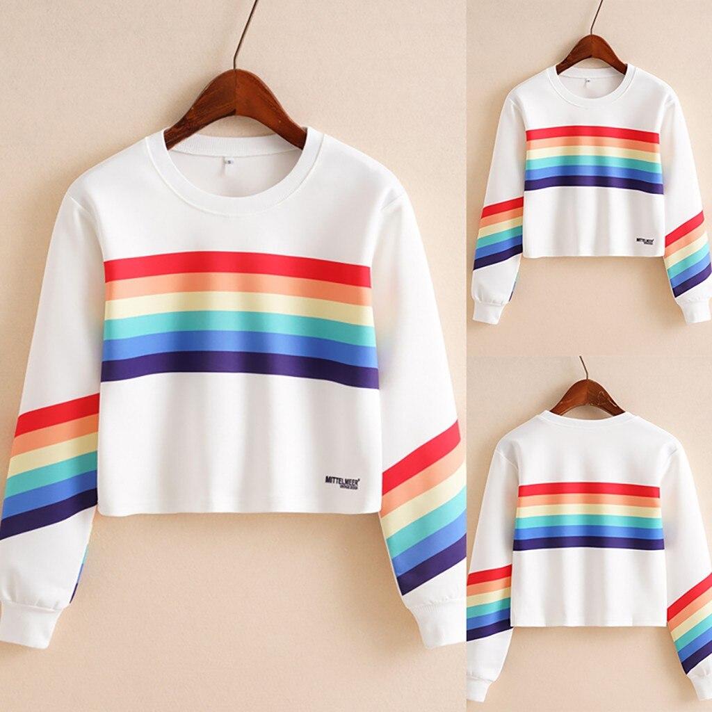 Fashion Female Long Sleeve Hoodie Pullover Sweatshirt Rainbow Letter Print Women's Sweatshirt Tops Ladies clothes felpe donna S3