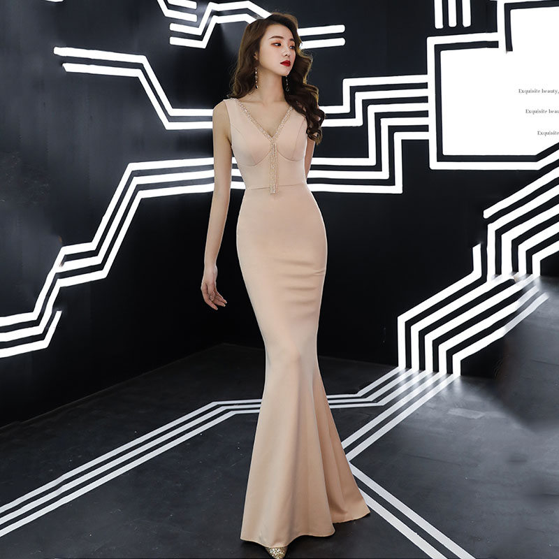 Evening Dresses Shiny Beading Crystal Elegant Women Party Dress Double V-neck Sleeveless Robe De Soiree Tassel Formal Gowns F088