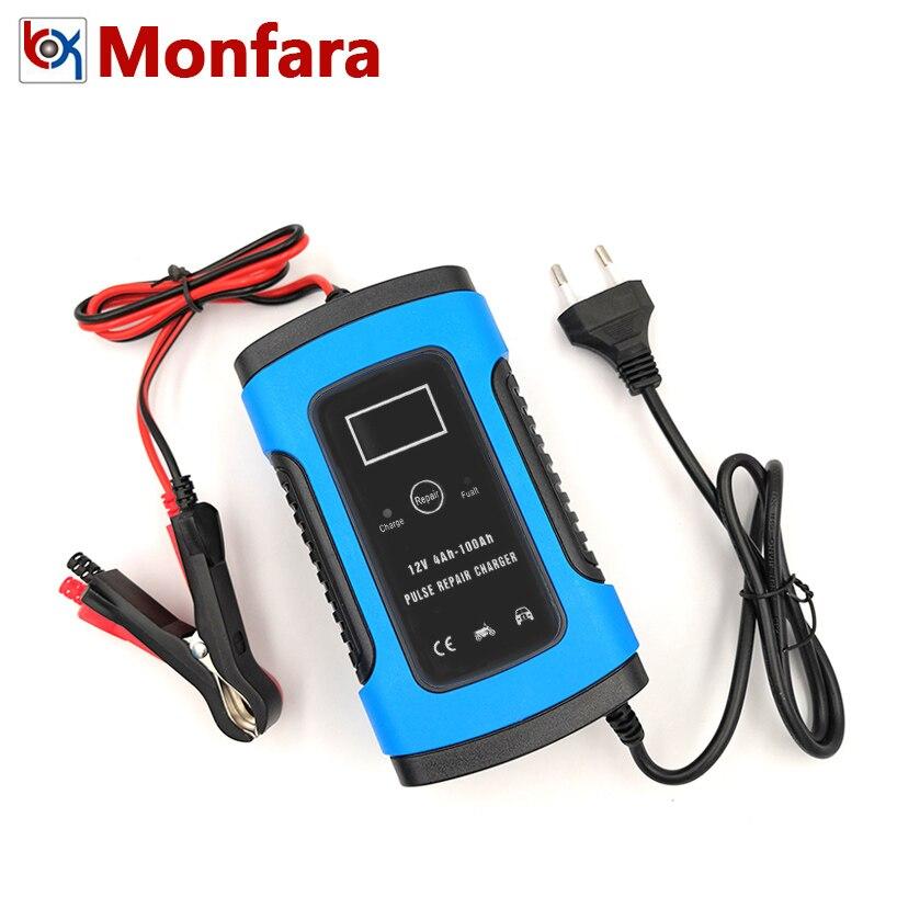 12V 6A complètement automatique voiture moto chargeur de batterie Intelligent plomb acide 6 A charge numérique LCD affichage 220V 10 20 AMP