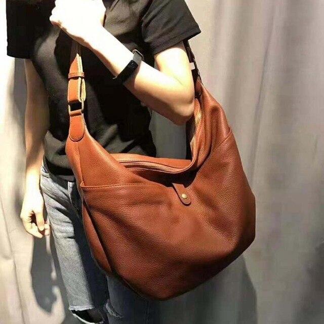 Woman Folding Soft Shoulder Bags Fashion Large Genuine Leather Tote Ladies  Korean Design Casual Messenger Bag Feminina Handbags