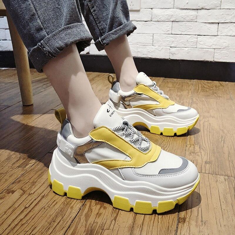 trendy white platform sneakers