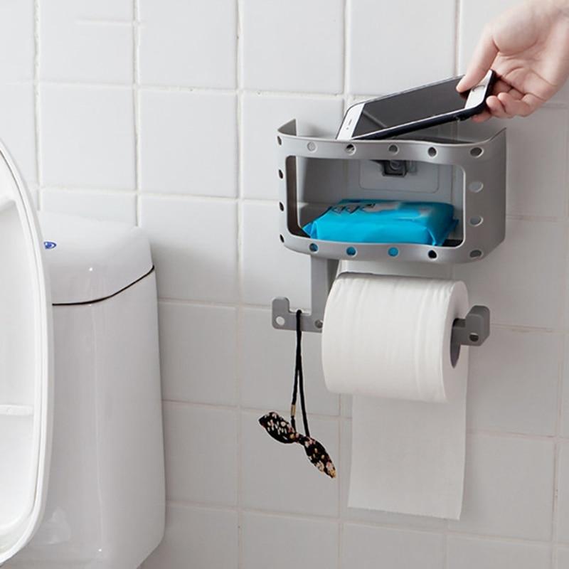 Bathroom Storage Holders Racks Toilet Paper Roll Tissue Rack Wall Mounted Shelf Organizer