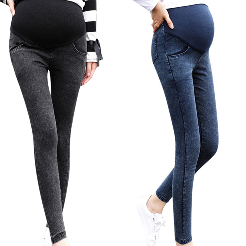 Maternity Black Blue Jeans Skinny Pants For Pregnant Women Plus High Waist Leggings Pregnancy Clothes Winter Maternity Clothing