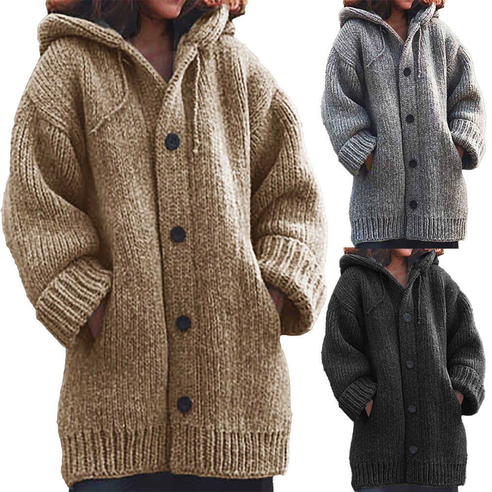 Coat of angora Women Cardigans Sweater Solid Loose Knitwear Single Breasted Casual Knit Cardigan Outwear Winter Jacket Coat hot