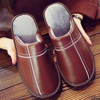 2020 Spring High Quality Leather Shoes For Men Indoor Slippers Soft Round Toe Home man spring/winter shoes