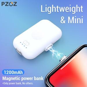 Image 1 - PZOZ כוח בנק מיני 1200mAh Poverbank חיצוני סוללה מטען נייד עבור iphone X 11 מקס סמסונג S10 xiaomi redmi Powerbank