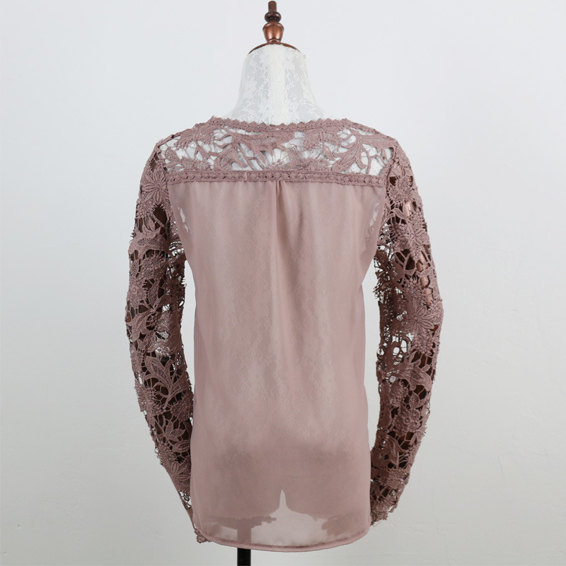 fashion casual autumn spring woman blouse elegant lace patchwork o-neck long sleeve hollow out sexy female shirt korean