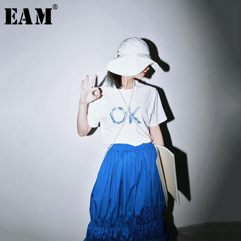 [EAM] Women White Pattern Printed Temperament T-shirt New Round Neck Half Sleeve  Fashion Tide  Spring Summer 2020 1R818