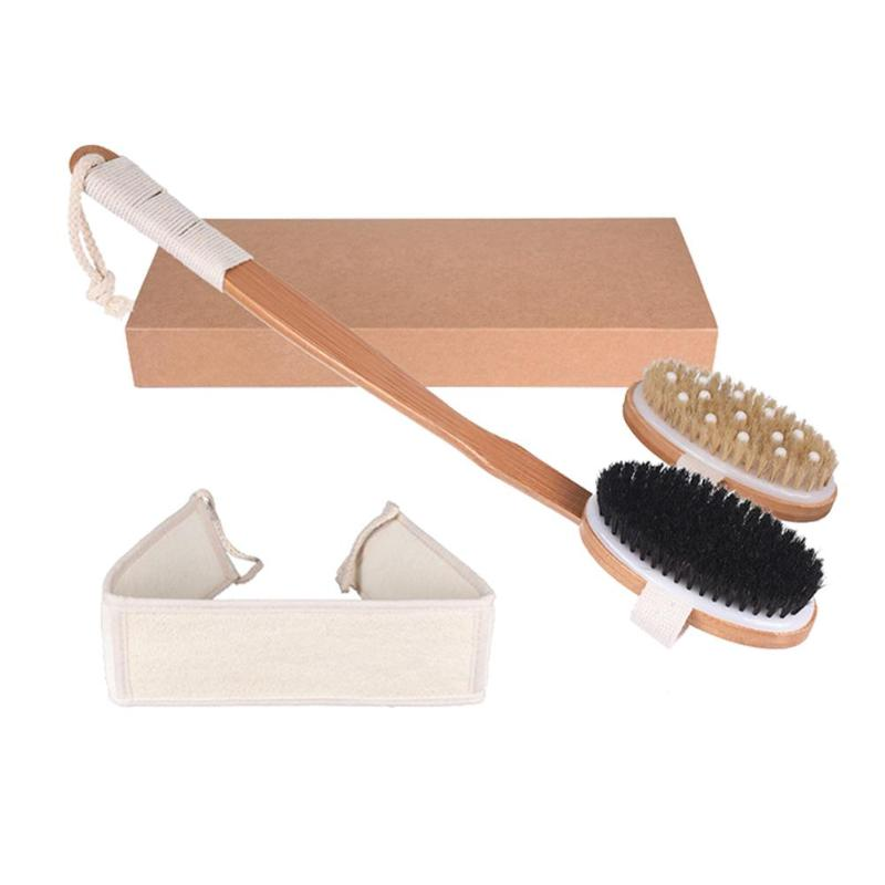3pcs Exfoliating Body Massage Soft Natural Bristle Scrubber Bamboo Handle Shower Bath Brush Reach Back Body