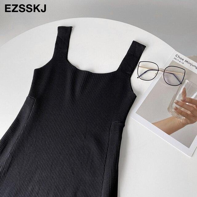 chic knit French V-neck A-line maix dress women female 2021 summer elegant  long dress robe dress 6