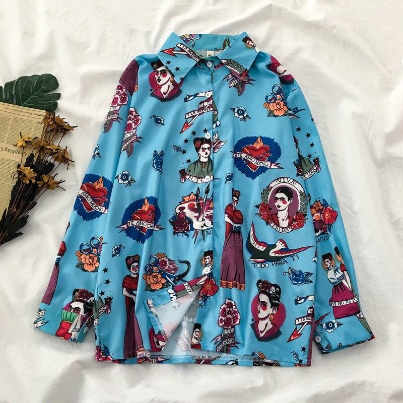 Casual Printed Long Sleeve Shirt Men Street 2020 Hawaii Beach Oversize Women Fashion Harujuku Shirts For Men L0438