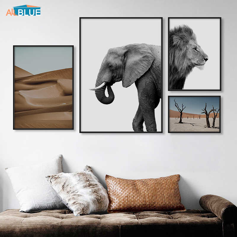 Elephant Lion Animal Nordic Posters And Prints Desert Tree Wall Art Canvas Painting Black White Wall Pictures For Living Room