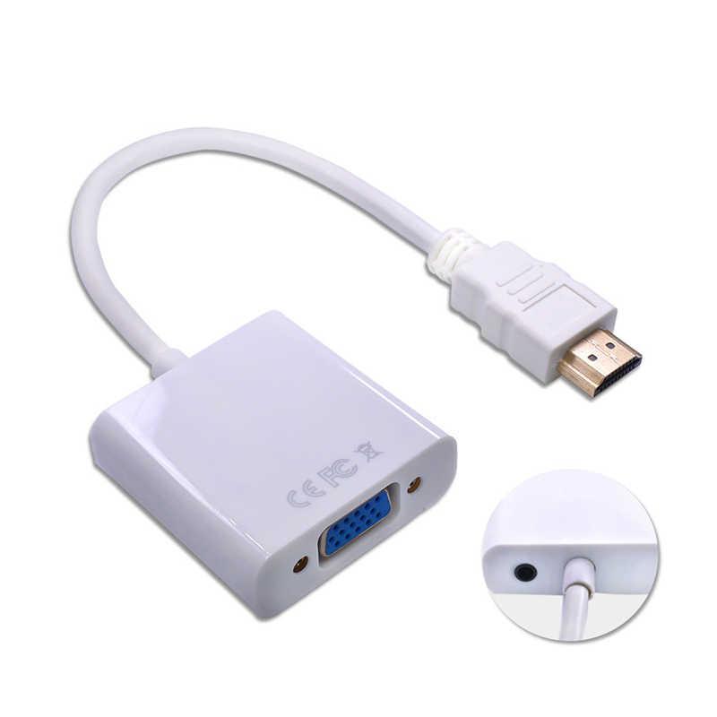 1080P Adapter HDMI do VGA przetwornik cyfrowo-analogowy kabel do Xbox PS4 PC Laptop TV, pudełko do projektora wyświetlacz HDTV