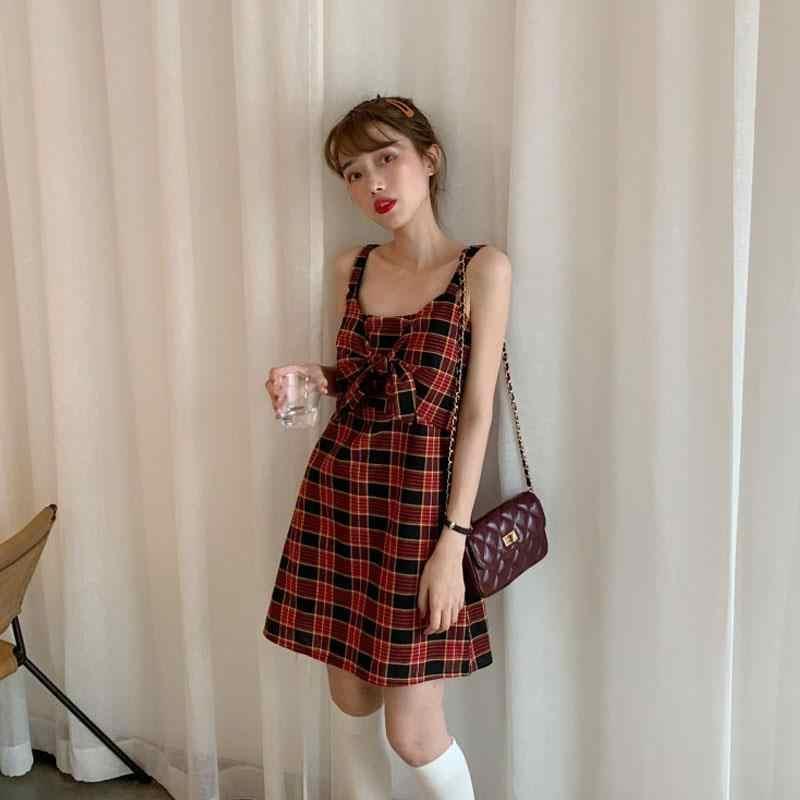 Новое женское красное мини-платье в клетку в готическом стиле, платье на бретельках 2019, весенне-осеннее Новое модное облегающее платье на бретельках Vestido