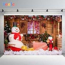 Рождественский фон для фотосъемки снеговик дерево красочный