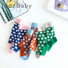 Newborn Girl Socks 2019 New Korean Children Socks Spring New Double Needle Knitting Color Matching Polka Dot Socks Cheap Stuff(China)