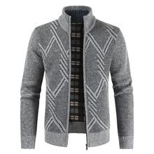 цены на Stand collar knit jacket men's geometric pattern fashion slim trend Korean knit cardigan plus velvet warm sweater 2019 New  в интернет-магазинах
