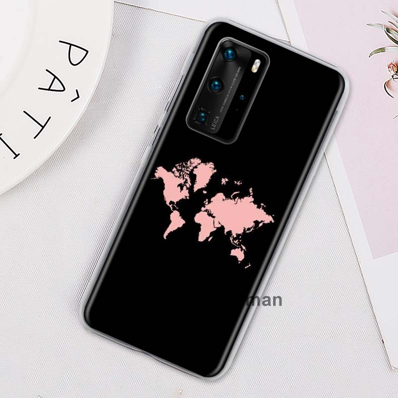 World Map Travel Plans Phone Case For Huawei P20 Lite P30 P40 Lite P40 Pro+ P30 Pro P10 Lite P Smart Plus Z Hard PC Cases Cover