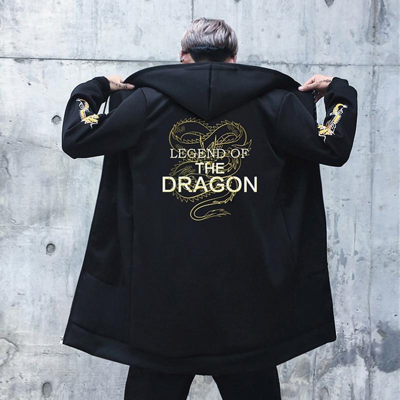 US Size 2019 Autumn Streetwear Fleece Coats Windbreaker Mens Jackets Hip Hop Dragon Print Hoody Thick Wind Breaker Male DG427