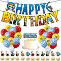 1 комплект Аниме цельные шары цельный Луффи шарик баннер торт топперы для мальчиков день рождения украшения поставки