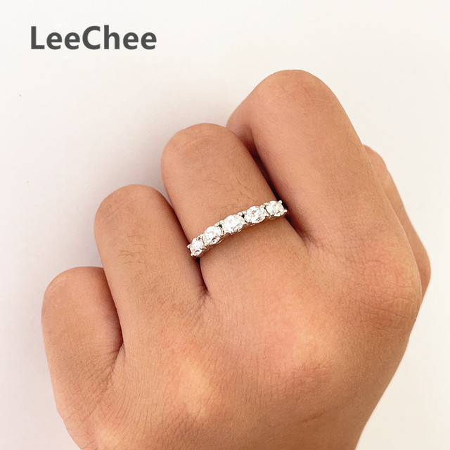 3*4MM Oval Moissanite Ring VVS 5 Pieces Lab Diamond Fine Jewelry for Girl Wedding party Gift Real 925 Sterling Silver Band Ring 4