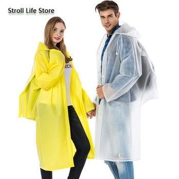 Clear Rain Coat Jacket Adult Raincoat Women EVA Long Outdoor Climbing Fishing Hiking Rain Poncho Plastic Suit Impermeable Gift