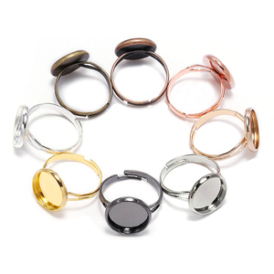 10pcs/lot Adjustable Blank Ring Base Fit Dia 10 12 14 16 18 20 25 mm Glass Cabochons Cameo Settings Tray Diy Jewelry Making Ring(China)