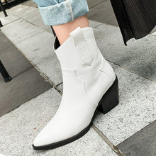 цена на 2020 Fashion Ankle Boots Autumn Pu Leather Women Boots Wedges High Heel Western Cowboy Boots Pointed Toe Winter Plush Shoes
