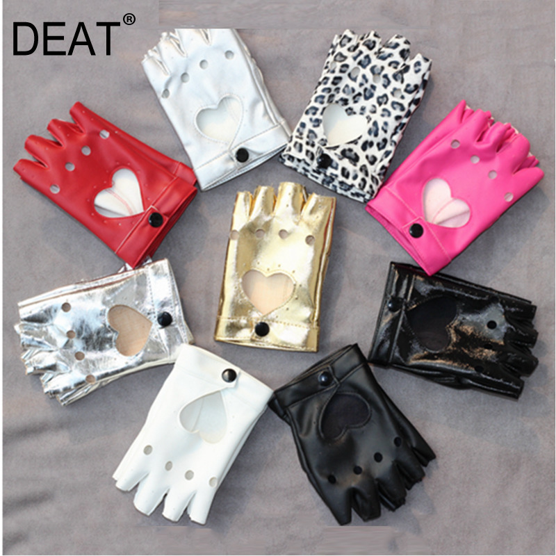 DEAT 2020 Hip-hop Performance Star Same Paragraph Glove Peach Heart Hollow Half Finger Solid Colors Gloves Spring 2020 New PC382
