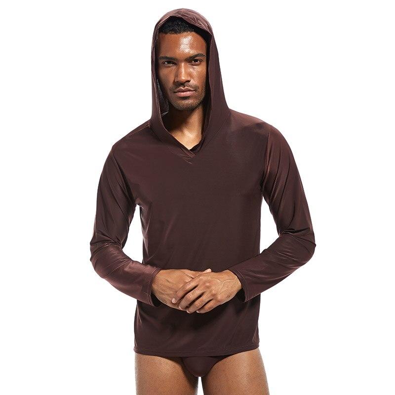 Camisa de Dormir com Capuz de Seda dos Homens dos Homens dos Pijamas dos Homens do Senson do Pinky Pijamas Homens Senson Pinky dos do