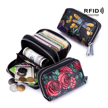 Fashion RFID Women Card Holder Split Leather Double Zipper Case Large Capacity 3D Flower Printed Lady Wallets Purse - discount item  50% OFF Wallets & Holders