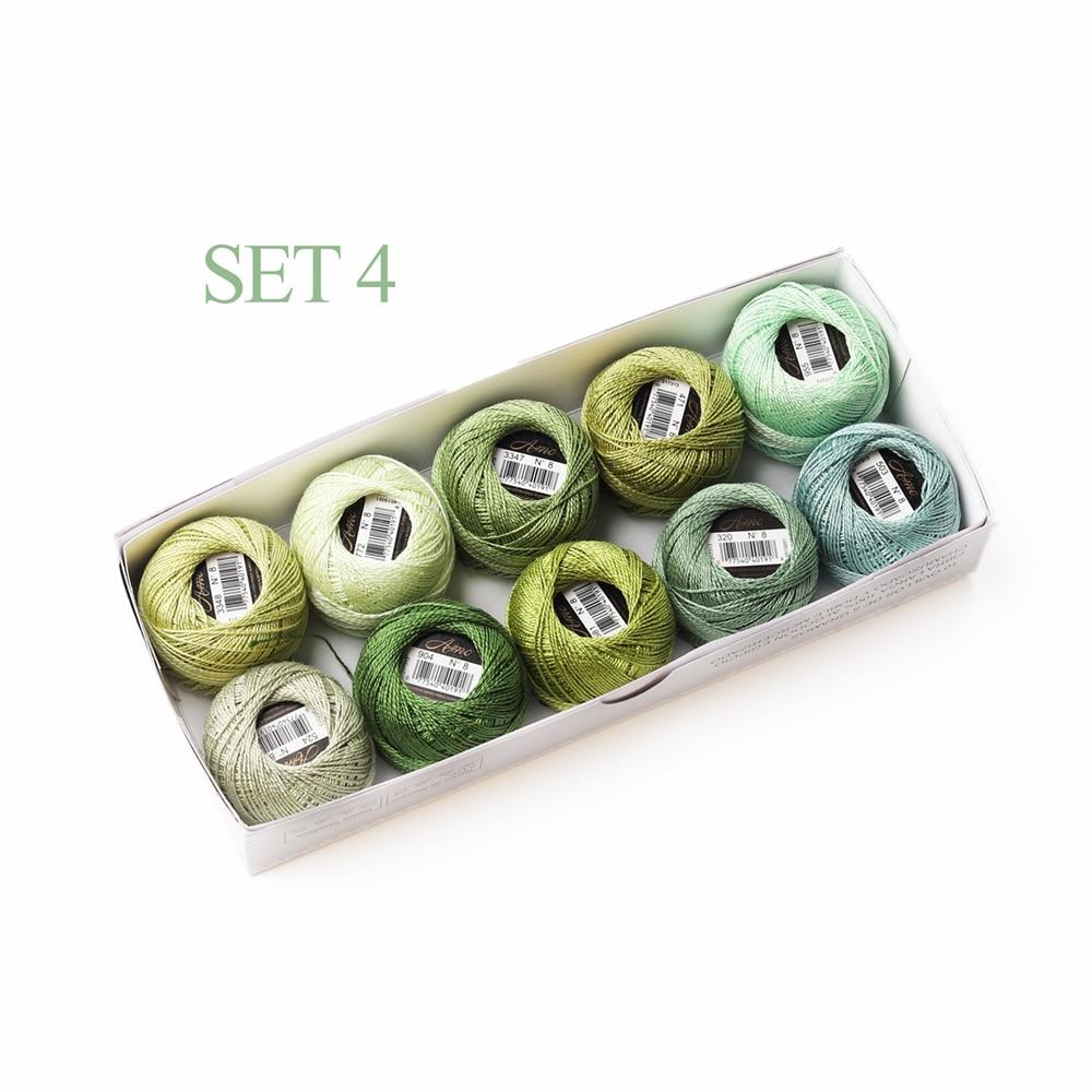 5 граммов размер, 8 жемчужных хлопковых нитей для вышивки крестиком, 43 ярдов на шарик, Двойной Мерсеризованный длинный штапельный хлопок, 10 шт./col - Цвет: Set 4