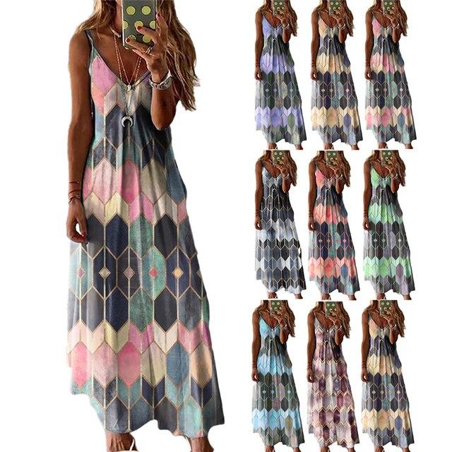 Women's Summer Casual Printed Camisole Long Dress Fashion Sexy Plus Size Dress Bohemian Dress 1