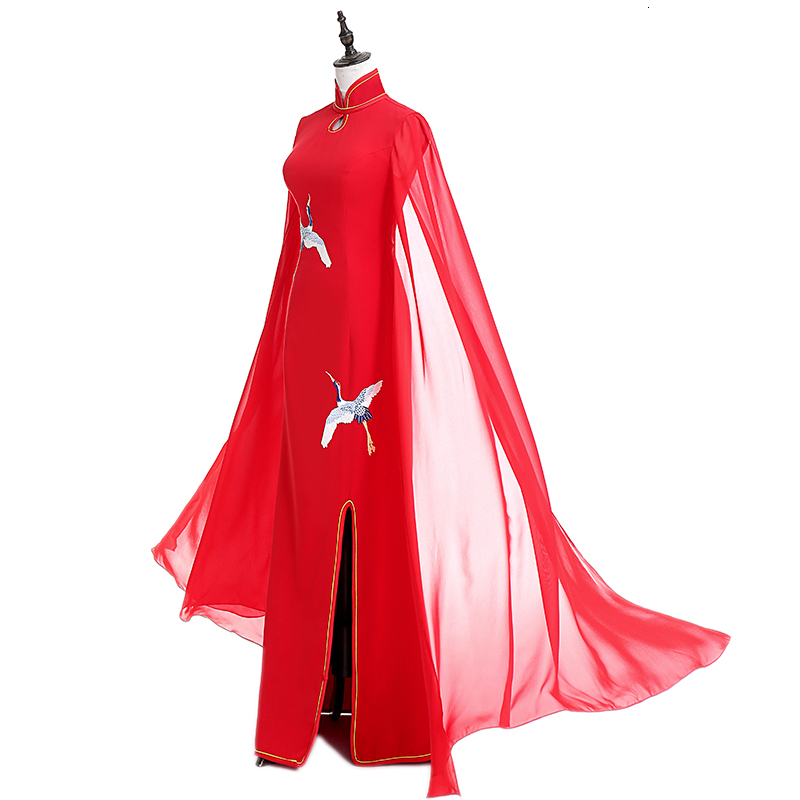 Luxury Embroidery Split Red Cheongsam Dress Elegant Cloak Chinese Tradition Evening Dresses Woman Fashion Qipao Oriental Gowns