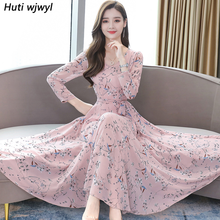 2019 Vintage Floral Chiffon Midi Dresses Autumn Winter 4XL Plus Size Long Sleeve Maxi Dress Elegant Women Bodycon Party Vestidos