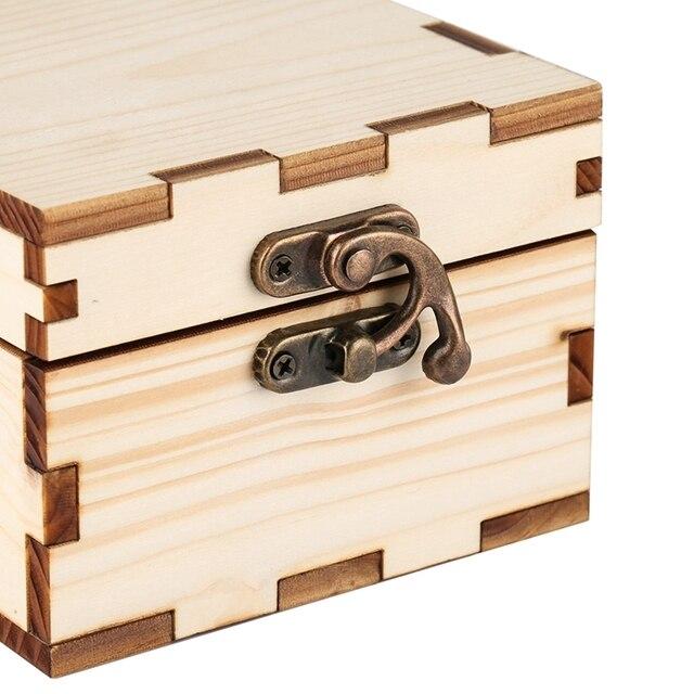 Cajas de soporte caja cuadrada de madera de bambú Natural para reloj de pulsera reloj de madera caja de cuerno de bloqueo de Metal de bronce reloj de almacenamiento de joyería