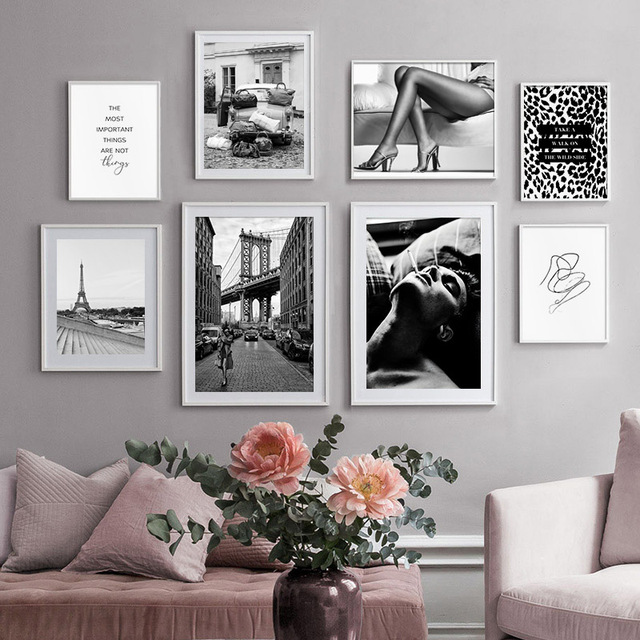 Black White Paris Photography Painting Leopard Road Sign Sexy Lady Fashion Poster Canvas Print Wall Art Picture Salon Decoration|Painting & Calligraphy|   -