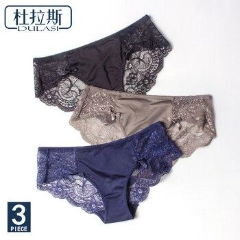 Sexy dentelle culottes femmes sous-vêtements slips sans couture soie dames Transparent Bikini coton pour les filles érotique culotte DULASI 3 pièces/lot
